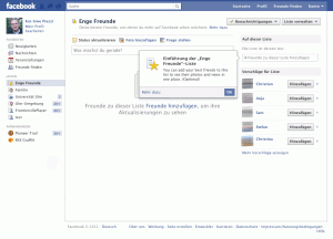 Facebook Liste Screenshot