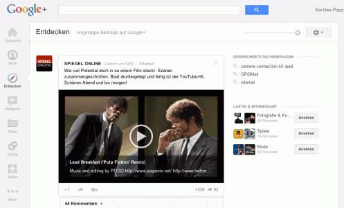 Menü Entdecken Google+