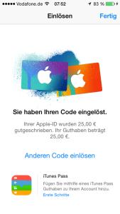 Apple_Guthabenkarte_einloesen_Guthaben_gutgeschrieben
