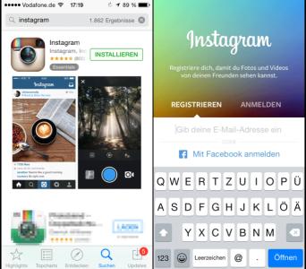 Instagram App Store und nach dem Start der Instagram App