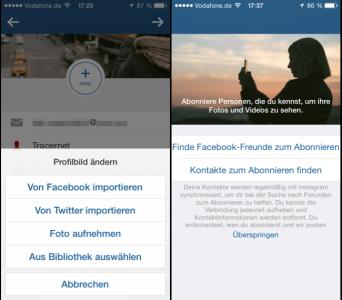 Instagram Profil, Möglichkeit Freunde finden