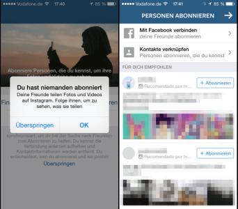 Instagram, Meldung sie haben niemanden abonniert, und erst Vorschläge zum folgen