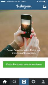 Instagram Ende erster Durchlauf nach der Registrierung. ;)