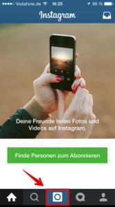erster Schritt um ein Foto bei Instagram zu veröffentlichen