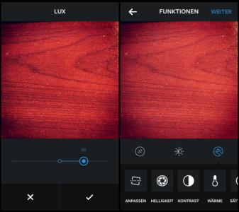 Instagram Bild bearbeiten, LUX, Kontrast Sättigung usw.