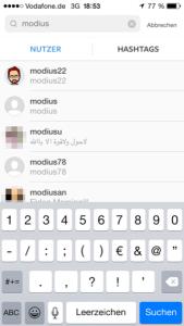 Instagram Suche beginnen