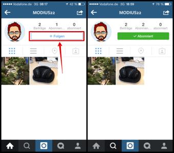 Instagram Freund abonnieren bzw. folgen
