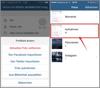 Instagram Auswahl von wo wir unser Profilbild holen wollen