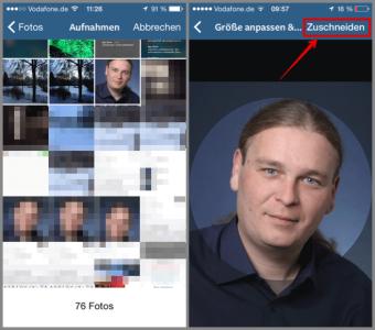 Instagram Profilbild auswählen und zurechtschneiden