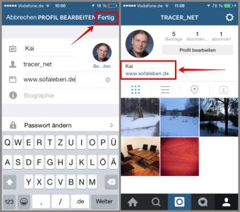 Instagram Profil bearbeiten und finale Profil