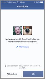 Instagram Facebook App den Zugriff bestätigen