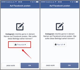 Instagram Facebook Veröffentlichung wer darf es sehen