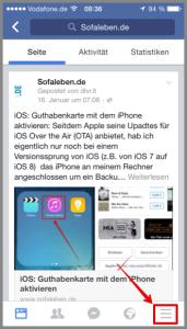 Facebook App zum Navigationsmenü wechseln