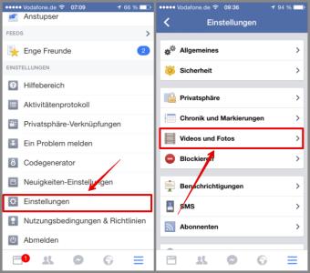 Facebook App zu den Videos und Foto Einstellungen wechseln