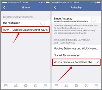Facebook App automatischen Video Start deaktivieren