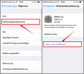 iPhone Einstellungen Softwareaktualisierungen