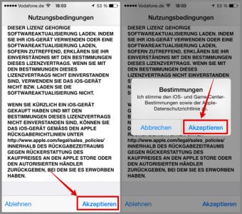 iOS Update Nutzungsbedingungen akzeptieren