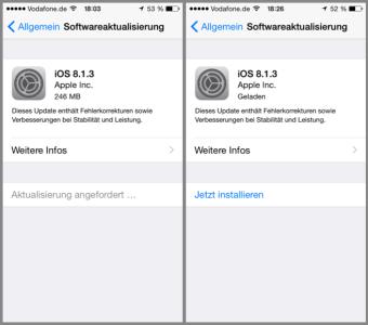 iOS Update installieren