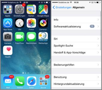 iOS anhand des Einstellungs Symbols erkennen das ein Update vorhanden ist