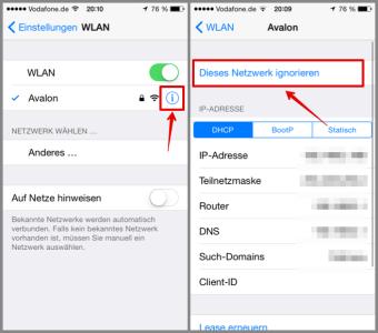 iPhone Netzwerk ignorieren