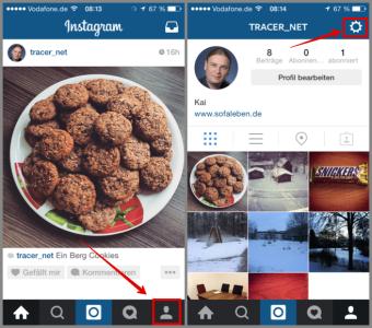 Instagram zu den Konto Optionen wechseln