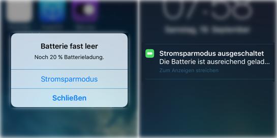 iOS Stromsparmodus aktivieren automatische Deaktivierung