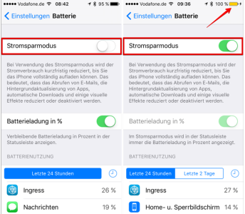 iOS Stromsparmodus deaktiviert, bzw. aktiviert
