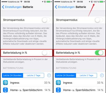 iOS Batterieanzeige in Prozent deaktiviert bzw. aktiviert
